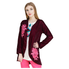 Load image into Gallery viewer, Embroidered Velvet Burgundy Jacket