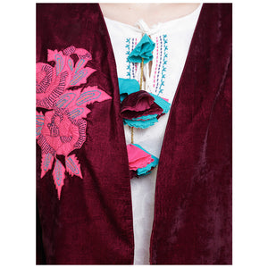 Embroidered Velvet Burgundy Jacket