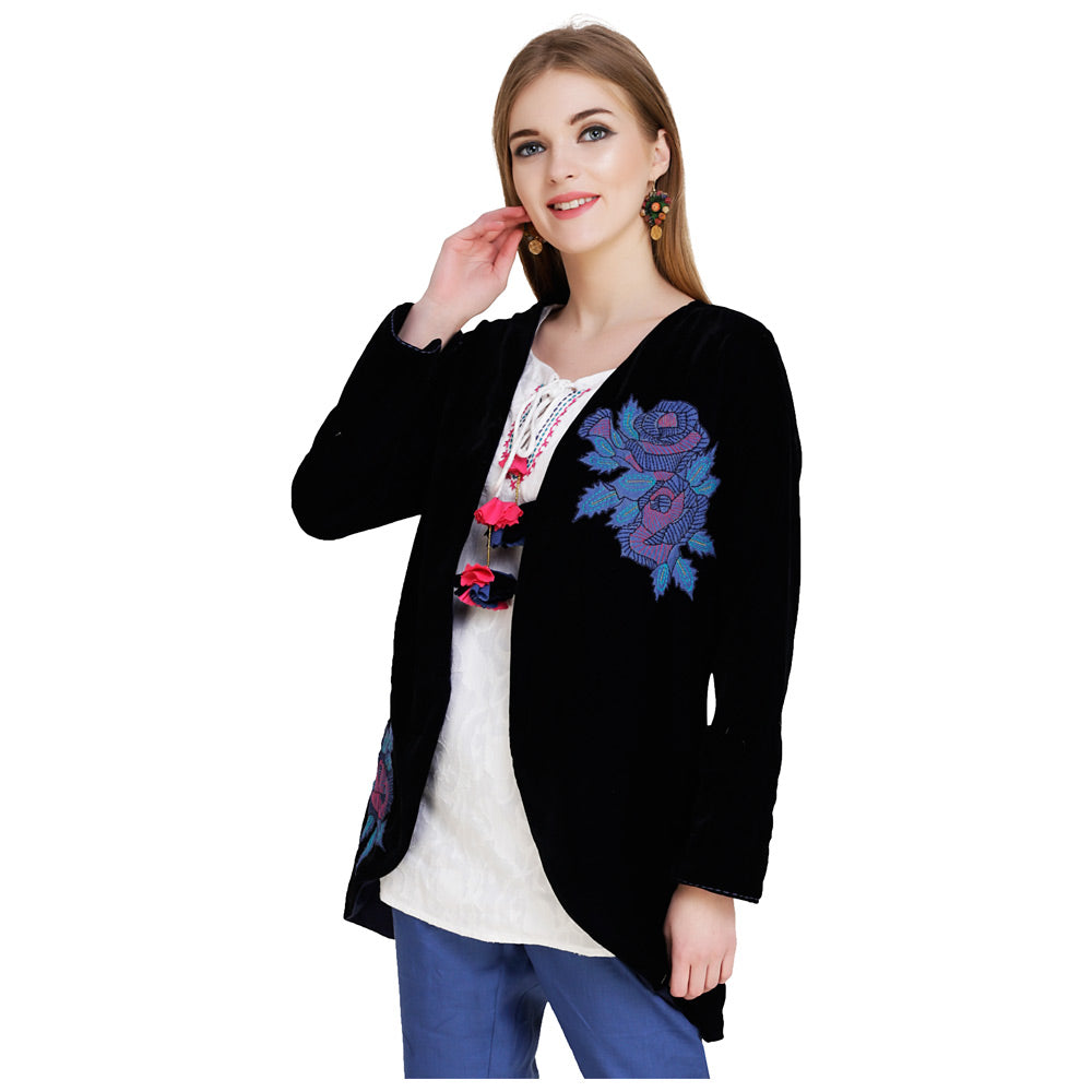 Embroidered Velvet Navy Blue Jacket