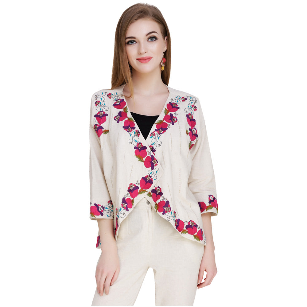Floral Embroidered White & Pink Shrug