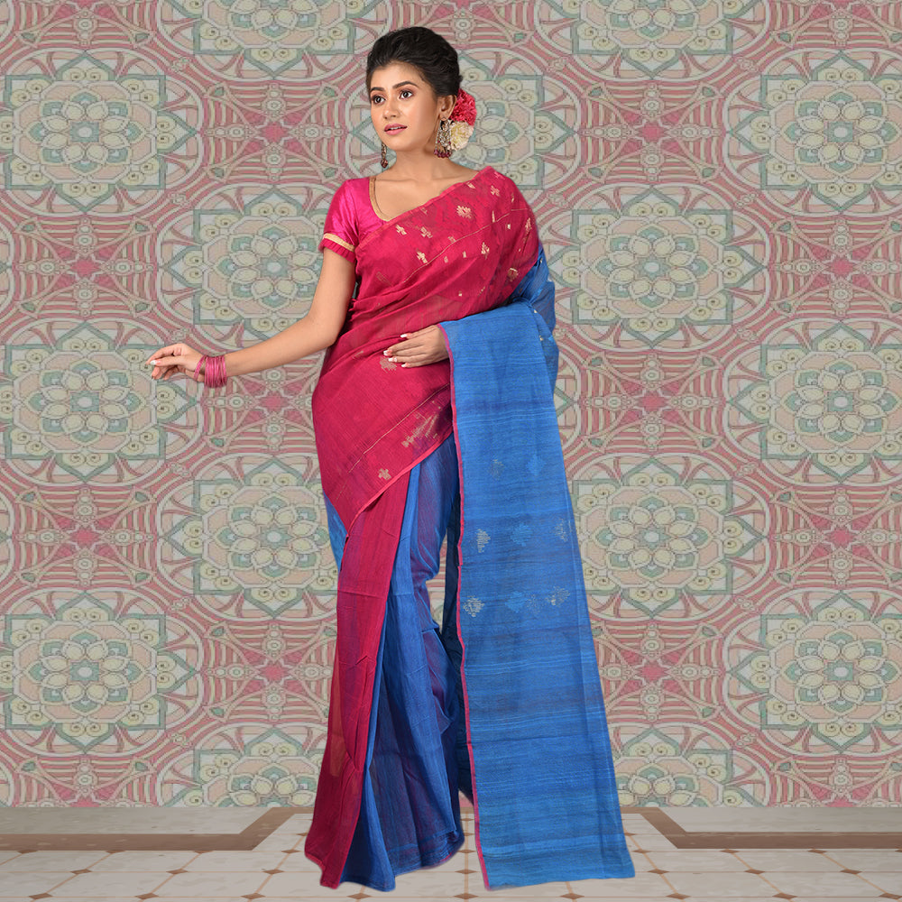 Dhakai Jamdani Half Body Work - Cotton Silk