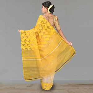 Pure Dhakai Jamdani Full Body Work with Zari - Silk
