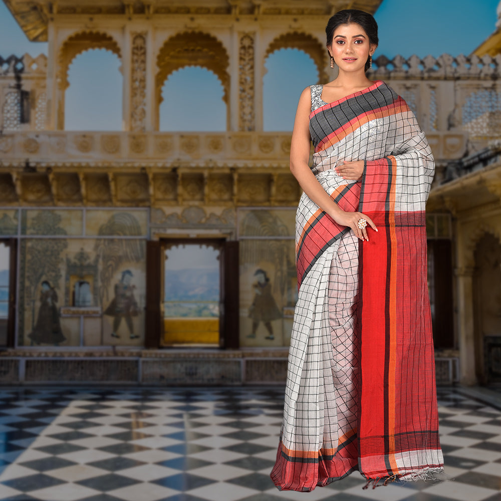 Hiya Checks Print Handloom Saree