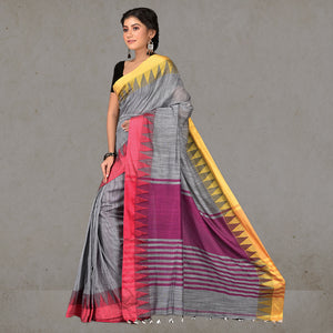Heena Temple Border Handloom Saree