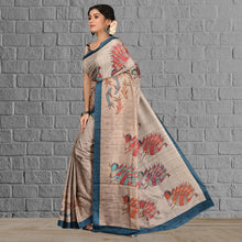 Load image into Gallery viewer, Tasar Print Silk Saree
