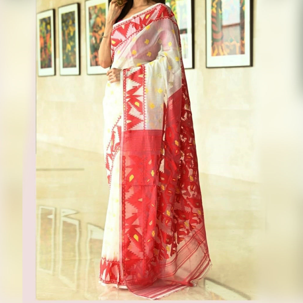 OS Red-White Soft Handloom Jamdani Saree