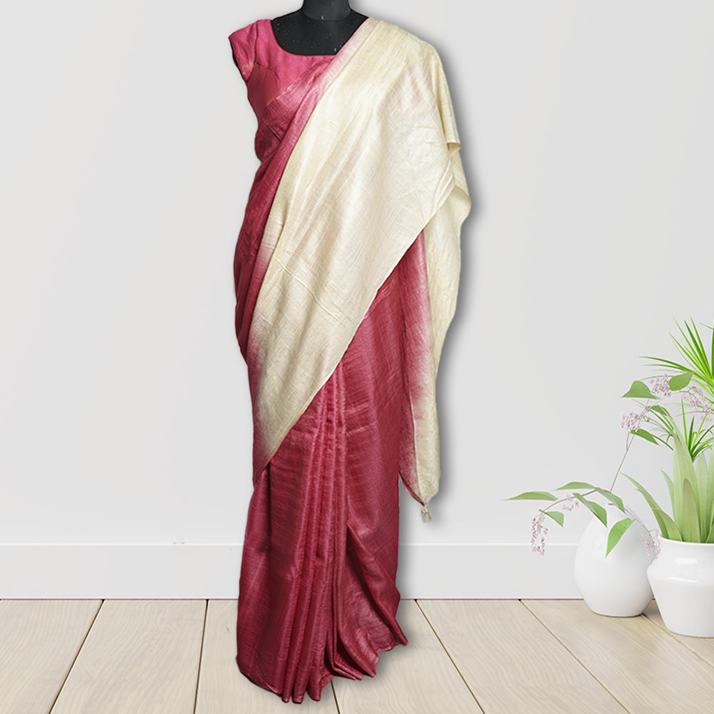 Chandra Tasar Silk Printed  Saree