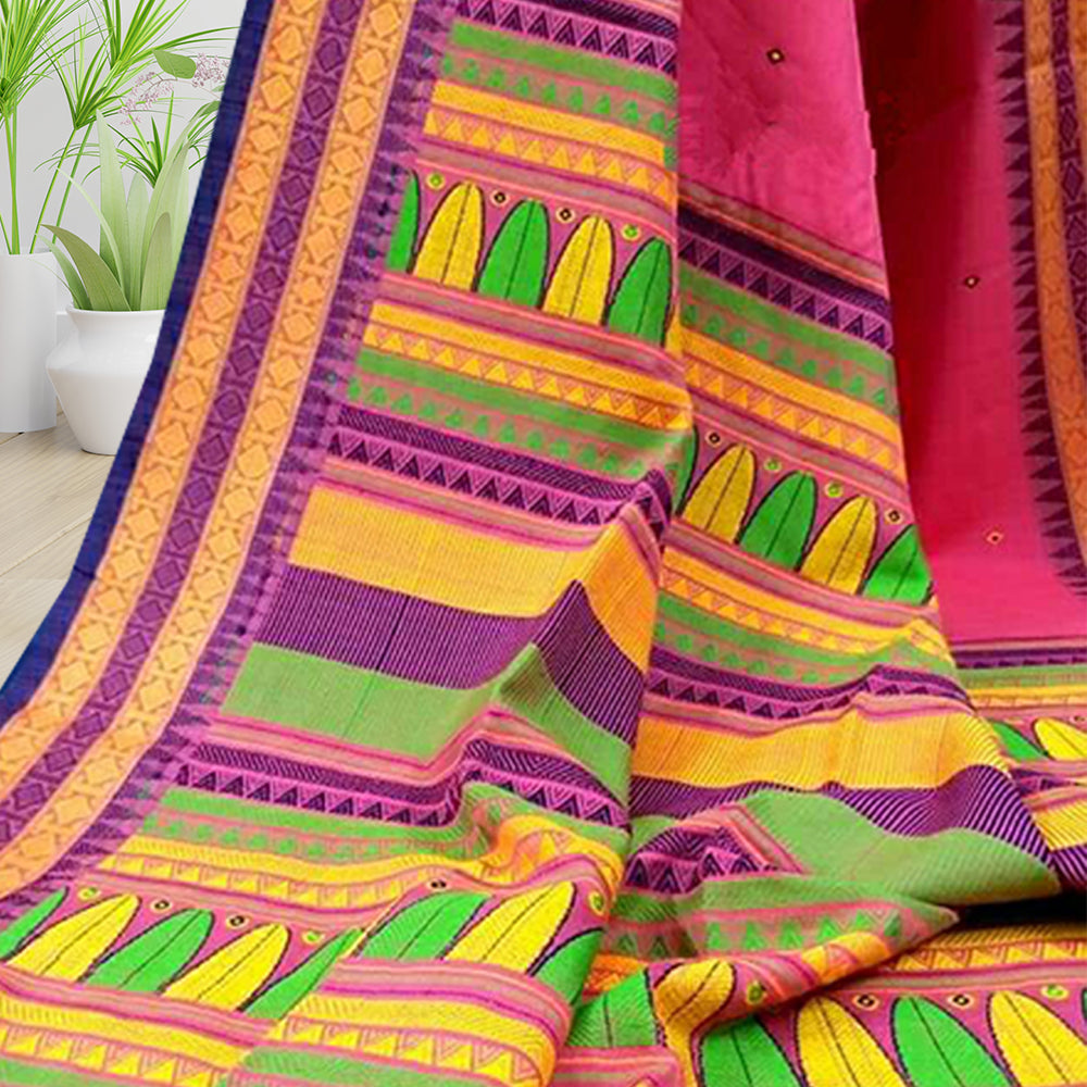 Kamla Multi Design Border Khadi Saree