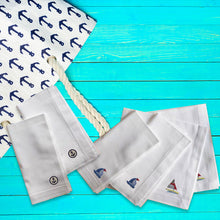 Load image into Gallery viewer, Cruise Premium Quality Set of 6 Embroidered Handkerchief