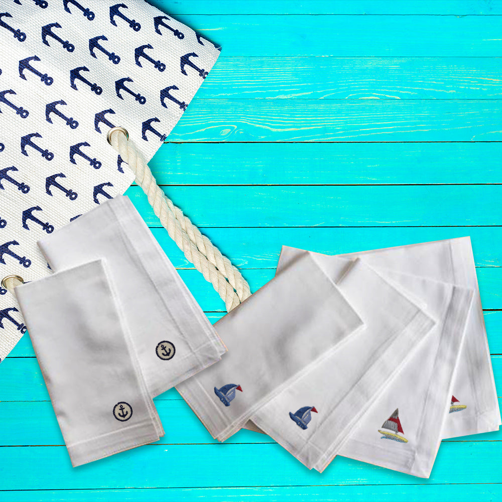 Cruise Premium Quality Set of 6 Embroidered Handkerchief