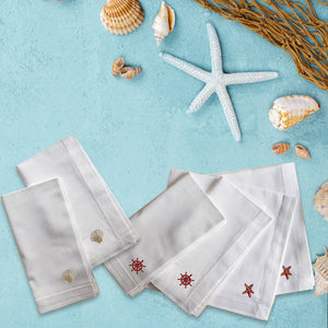 Sea Side Premium Quality Set of 6 Embroidered Handkerchief