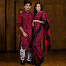 Load image into Gallery viewer, Charu Couple Handloom Men's Kurta with Saree