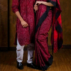 Charu Couple Handloom Men's Kurta with Saree