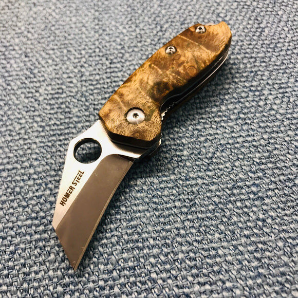 HomerSteel HS001 Mini Folding Pocket Knife D2 Tanto Blade Wooden Handle For EDC, Hunting, Camping