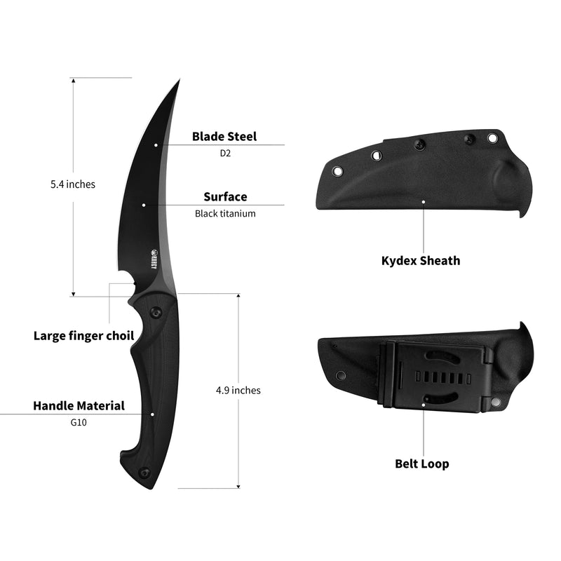 "KUBEY KU231 Scimitar Hunting Fixed Blade Knife [5.4""Trailing Point D2, G10] - KnifeGlobal Store"
