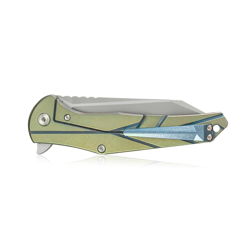 "KUBEY PeaceWalkrr KB252 Frame Lock Outdoor Folding Knife [3.9""Sandblast M390, 6AL4V Titanium] - KnifeGlobal Store"
