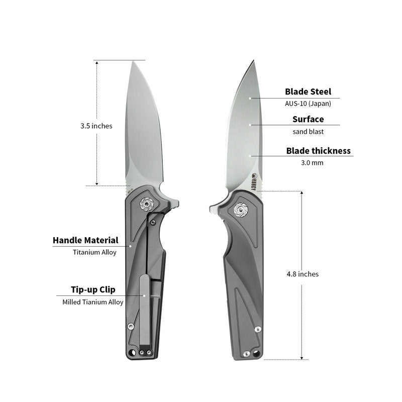 "KUBEY Wolverine KU232  EDC Folding Pocket Knife [3.5""Sandblast Drop Point  AUS10, Titanium Alloy] - KnifeGlobal Store"