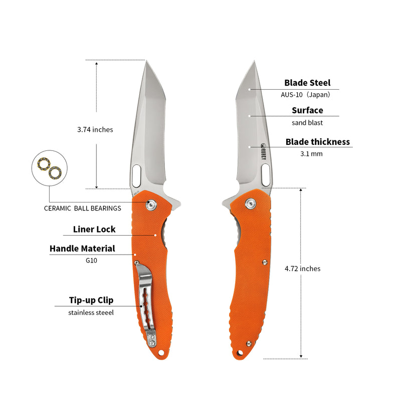 "KUBEY KU065 Liner Lock Folding Knife Orange [3.7""Sandblast/Polish AUS10, G10]"