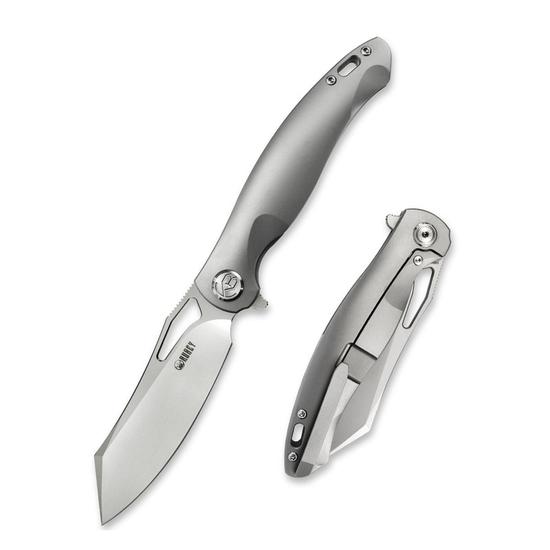 "KUBEY KB246A Drake Frame Lock Flipper Knife Titanium Handle (3.9""Sandblast S90V)"