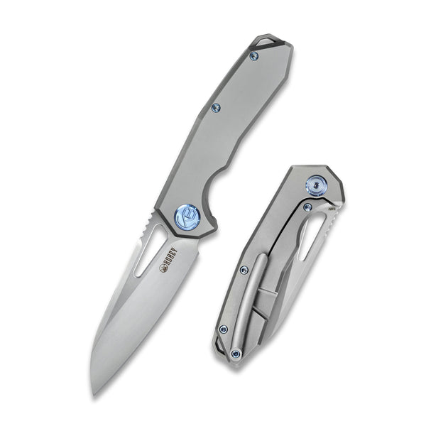 KUBEY KB284 Vagrant Frame Lock Grey Titanium Handle CPM-S30V  Folding Knife