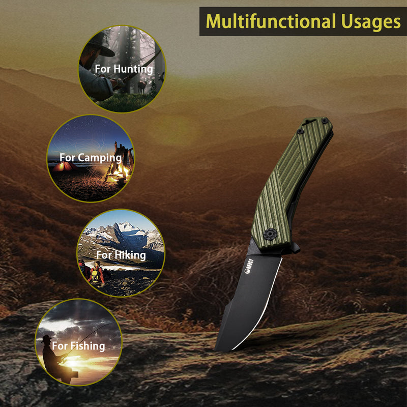 Kubey Nashorn - KU234 D2 Blade Ergonomic Groove Handle Folding Knife For Outdoor Hunting