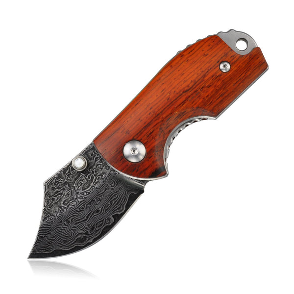 "KNIFE DM143-1 FOLDING KNIFE, 1.8"" DAMASCUS STEEL BLADE & WOOD HANDLE - LINER LOCK"