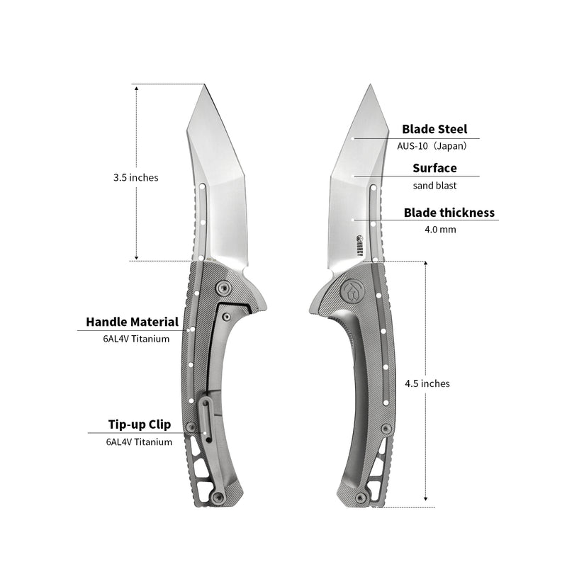 "KUBEY Kabor KB255 Folding Pocket Knife [3.54""Sandblast AUS10, 6AL4V Titanium]"