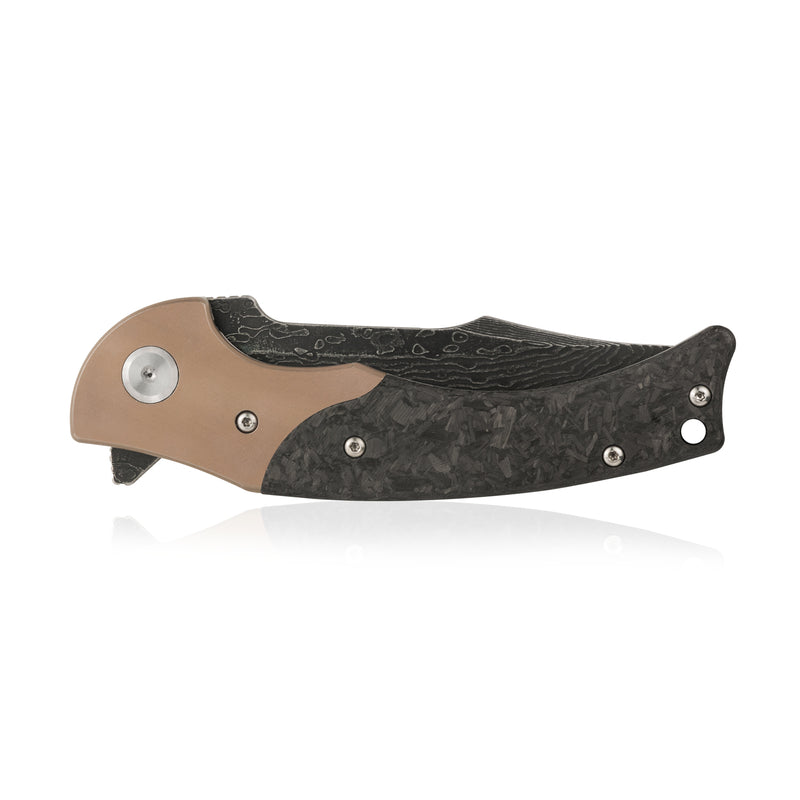 "KUBEY Hippo DM902 Outdoor Folding Knife [4""Damascus, 6AL4V Titanium/ Carbon Fiber] - KnifeGlobal Store"