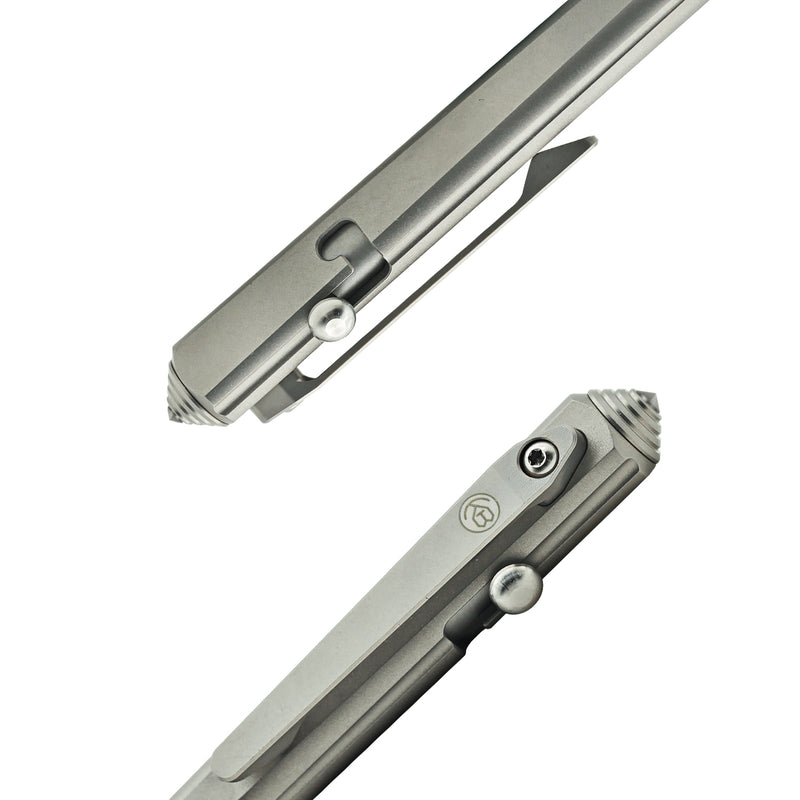 KUBEY Titanium Tactical Pen [Sandblast Grey & Tungsten Pen Tip] - KnifeGlobal Store