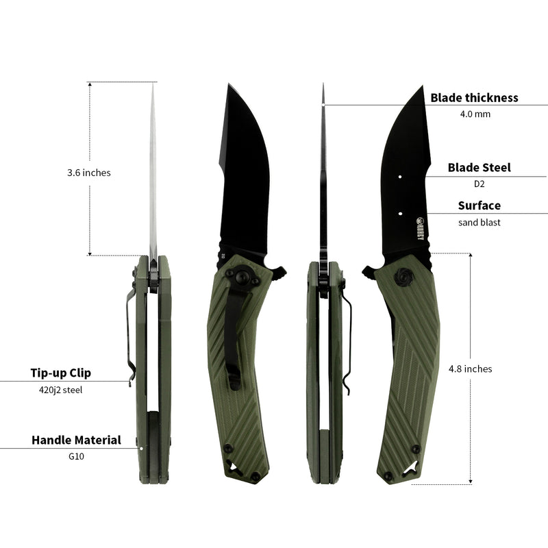 "KUBEY Nashorn KU234 Outdoor Folding Knife [3.7""Sandblast D2, G10] - KnifeGlobal Store"