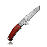 Unicorn - DM147 Folding Pocket Knife Damascus Steel Blade and Wood Handle with Lanyard, for Hunting Camping & Travel