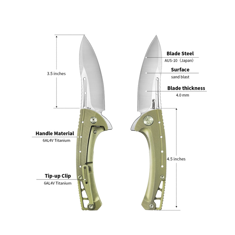 "KUBEY Tarzan KB254 Outdoor Folding Knife [3.5""AUS10, 6AL4V Titanium]"