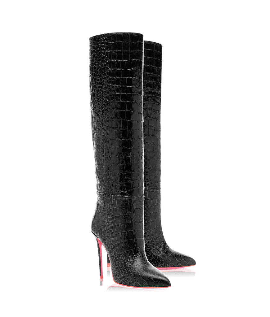 Dubhe Black Crocodile  · Ada de Angela High Heels Boots · Ada de Angela Shoes · High Heels Boots · Luxury Boots · Knee High Boots · Stiletto · Leather Boots