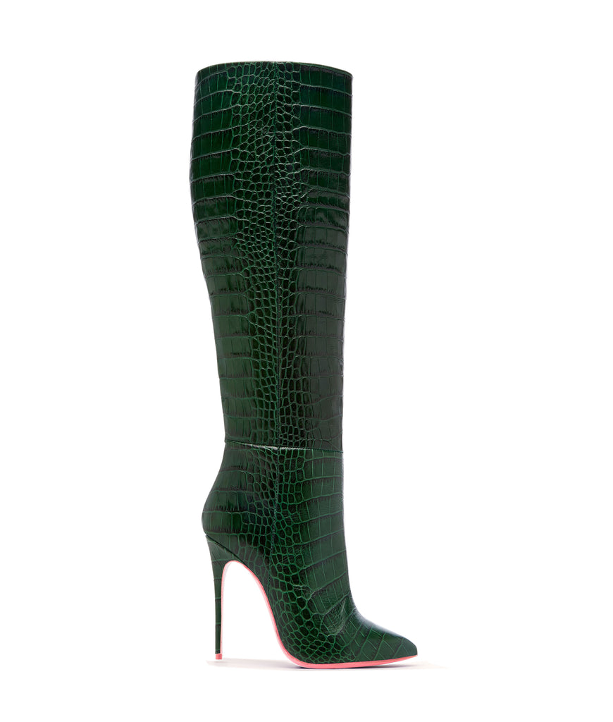 Dubhe Green Crocodile  · Ada de Angela High Heels Boots · Ada de Angela Shoes · High Heels Boots · Luxury Boots · Knee High Boots · Stiletto · Leather Boots