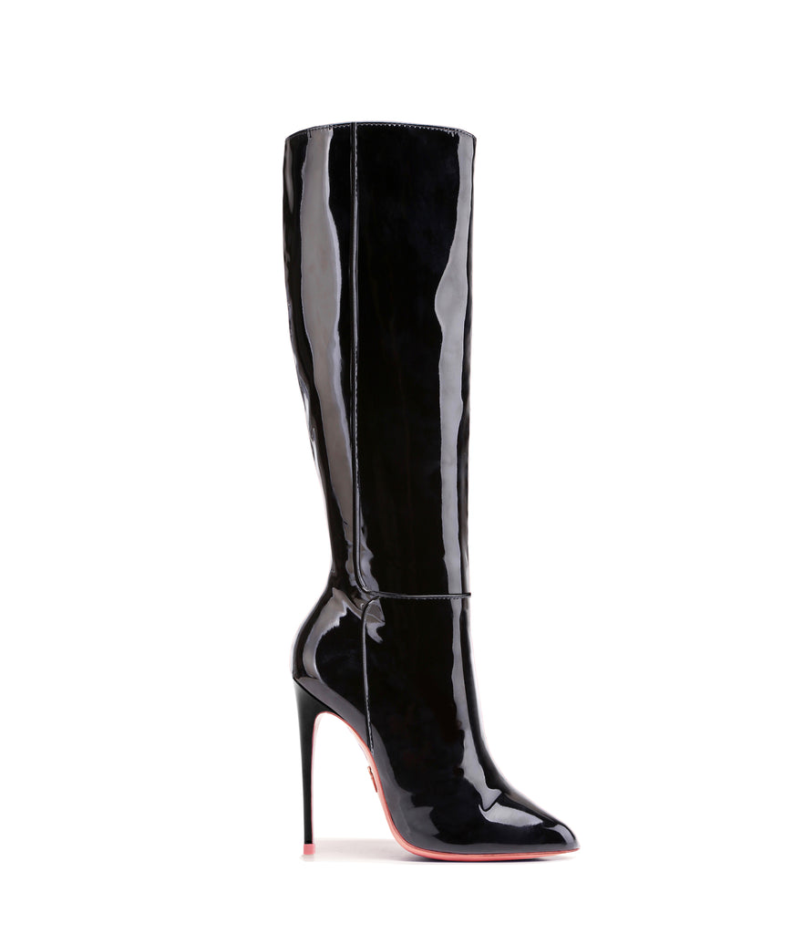 Hydor Black Patent · Ada de Angela High Heels Boots · Custom Made · Ada de Angela Boots · Luxury High Heels Boots · Luxury Boots · Knee High Boots · Stiletto · Leather Boots