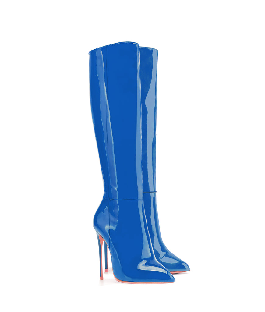 Hydor Blue Patent · Ada de Angela High Heels Boots · Custom Made · Ada de Angela Boots · Luxury High Heels Boots · Luxury Boots · Knee High Boots · Stiletto · Leather Boots