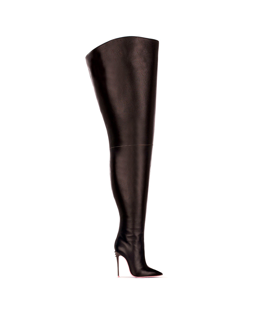 Kang Black · Ada de Angela High Heels Boots · Ada de Angela Shoes · High Heels Boots · Luxury Boots · Over Knee High Boots · Stiletto · Leather Boots Crotch Thigh Strap Boots Metallic Heel