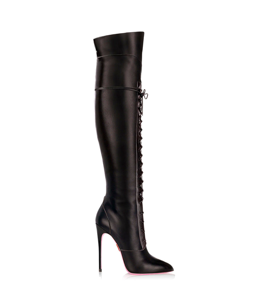 Sabik Black  · Ada de Angela High Heels Boots · Custom Made Boots  · High Heels Boots · Luxury Boots · Over Knee Boots · Stiletto · Leather Boots