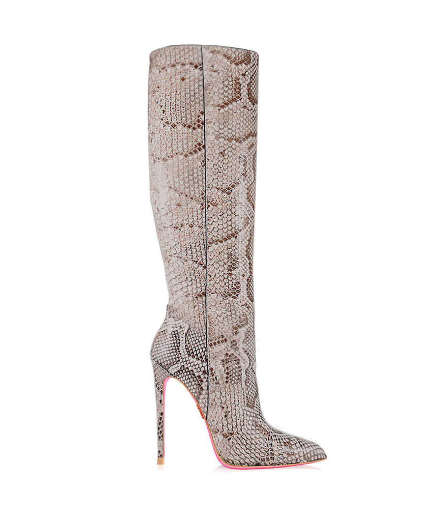 Spica Python · Ada de Angela High Heels Boots · Custom Made Boots · High Heels Boots · Luxury Boots · Knee High Boots · Stiletto · Leather Boots