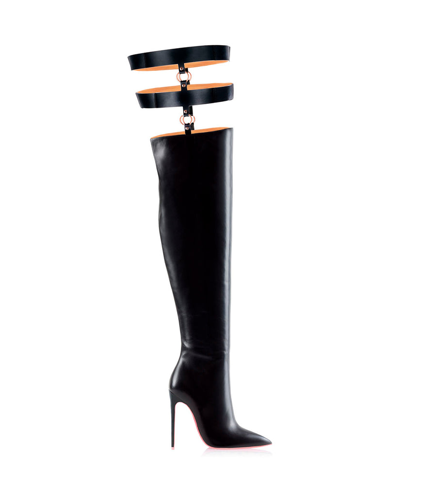 Tabit  Black · Ada de Angela High Heels Boots · Custom Made Boots · High Heels Boots · Luxury Boots · Over Knee High Boots · Stiletto · Leather Boots Crotch Thigh Strap Boots
