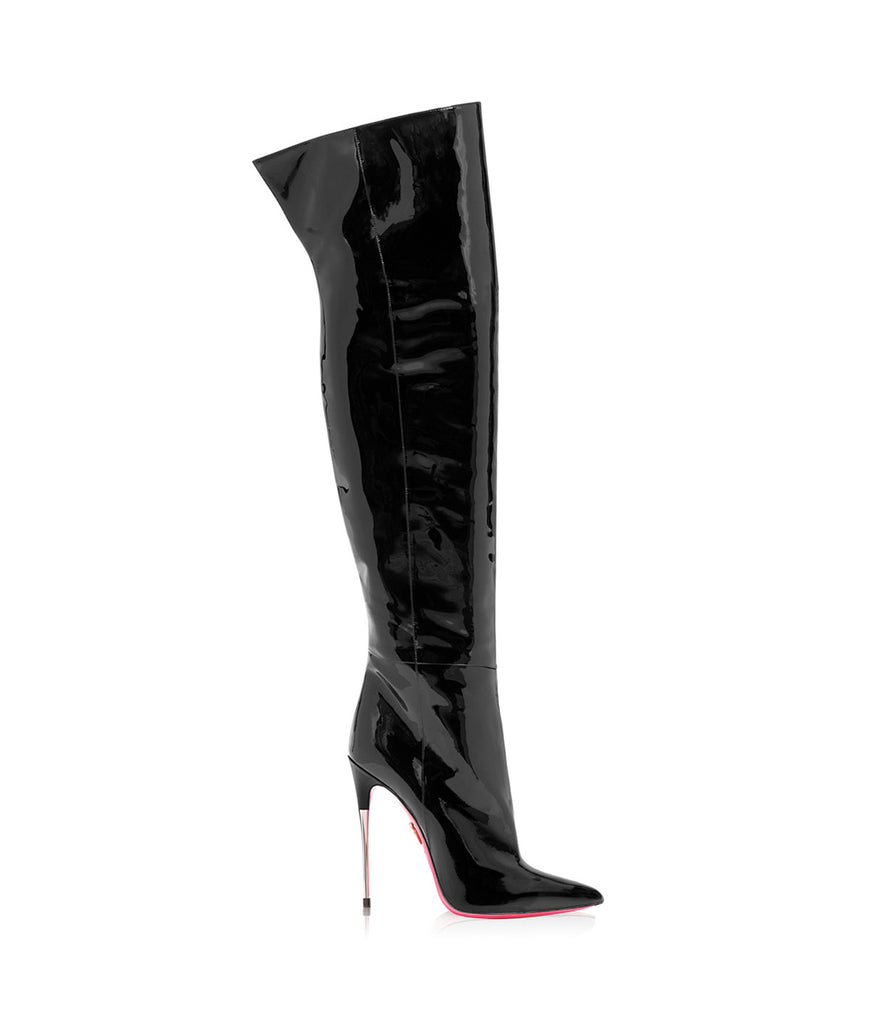 Wezen Black Patent · Charlotte Luxury High Heels Boots · Ada de Angela Boots  · High Heels Boots · Luxury Boots · Over Knee Boots · Stiletto · Leather Boots