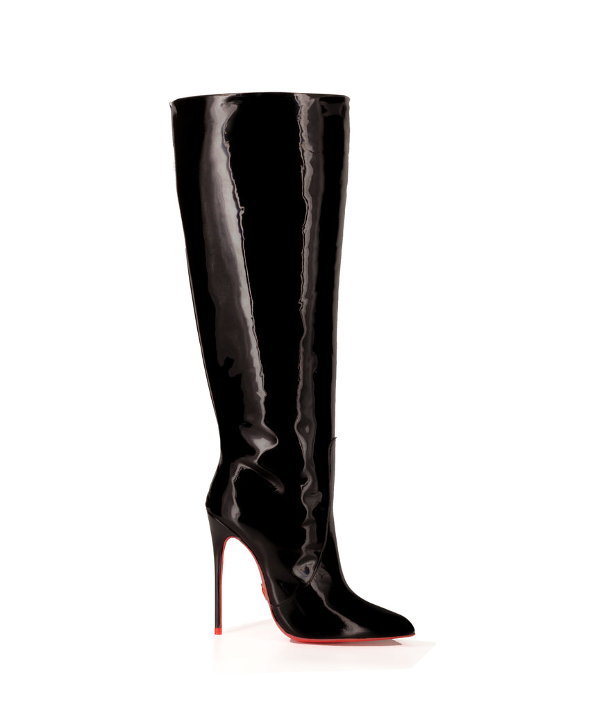 Zaniah Black Patent · Ada de Angela High Heels Boots · Custom Made Boots · Luxury High Heels Boots · Luxury Boots · Knee High Boots · Stiletto · Leather Boots