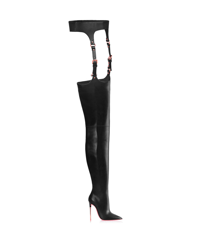 Nashira  Black · Ada de Angela High Heels Boots · Custom Made Boots · High Heels Boots · Luxury Boots · Over Knee High Boots · Stiletto · Leather Boots Crotch Thigh Strap Boots Metallic Heel