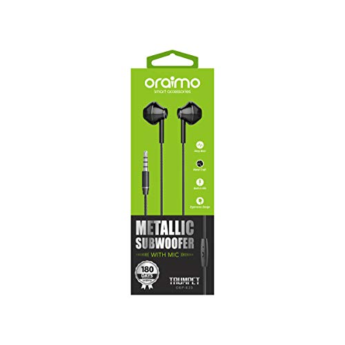 oraimo Trumpet Deep Bass Half-in-Ear Wired Earphones Metal Craft with Remote Control