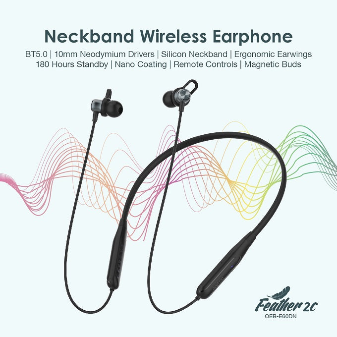 oraimo Feather-2C in-Ear Neckband Wireless Bluetooth Headphones