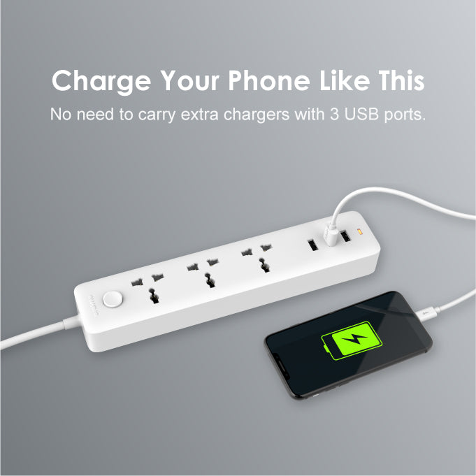 oraimo PowerHub 3 AC Outlets 3 USB Ports Power Strip