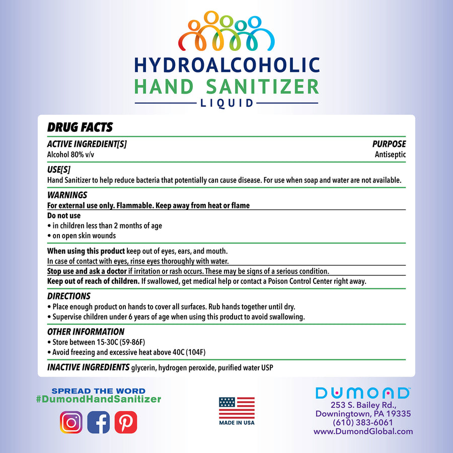 Hydroalcoholic Hand Sanitizer - 22 oz - Dumond  Hand Sanitizers