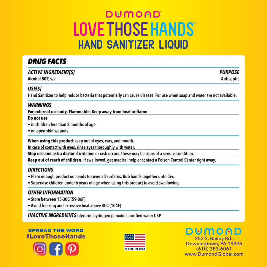 Love Those Hands™ Family - 1 Gallon -  Pack of 2 - Dumond  Hand Sanitizers