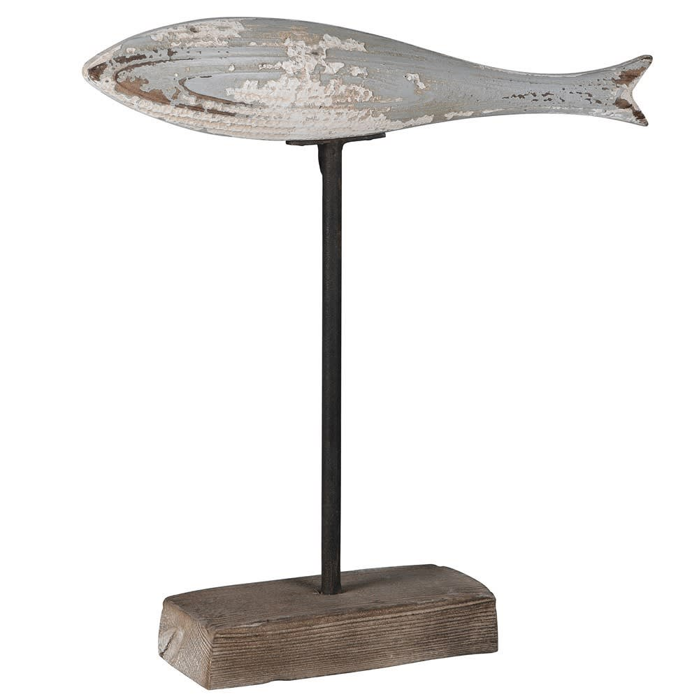 Distressed Wooden Fish on Stand