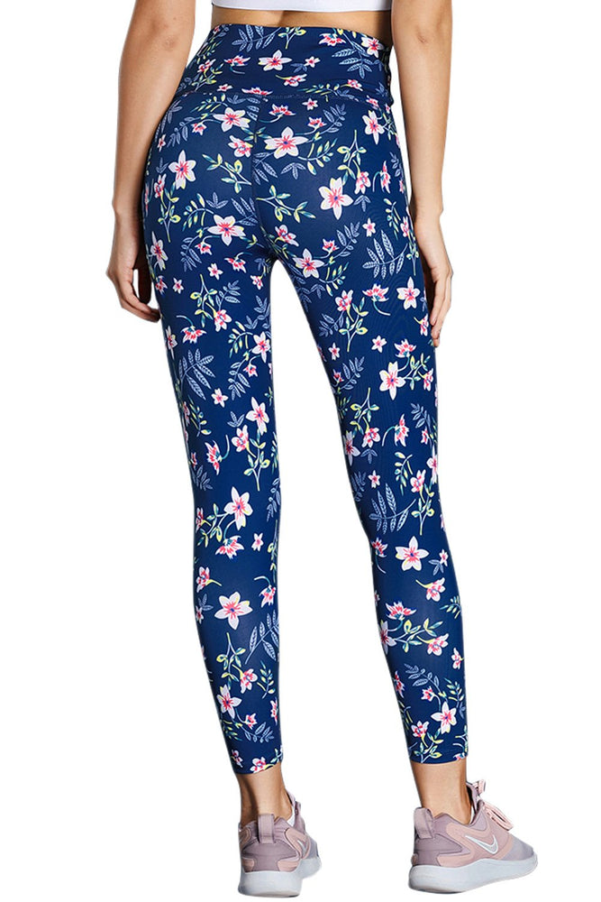 Load image into Gallery viewer, Navy High Waist Floral Leggings